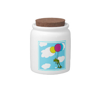 Frog Floating With Balloons Candy Dish
