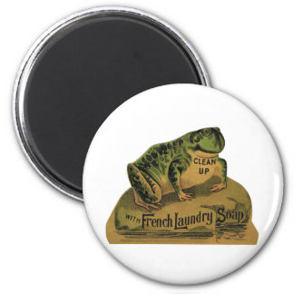 Frog French Laundry Soap 2 Inch Round Magnet