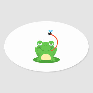 Frog Frogs Amphibian Funny Bug Cartoon Animal Oval Sticker
