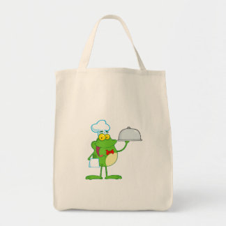 Frog Frogs Amphibian Funny Chef Cartoon Animal Grocery Tote Bag