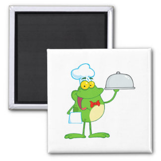 Frog Frogs Amphibian Funny Chef Cartoon Animal Magnets