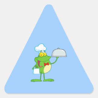 Frog Frogs Amphibian Funny Chef Cartoon Animal Triangle Sticker