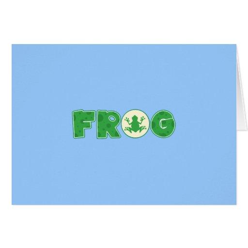 Frog Frogs Amphibian Green Cute Cartoon Animal Greeting Card