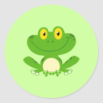 Frog Frogs Amphibian Green Cute Cartoon Animal Classic Round Sticker