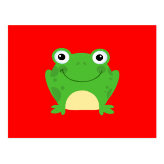 Frog Frogs Amphibian Green Cute Cartoon Animal Postcard