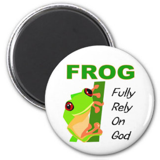 FROG, Fully rely on God 2 Inch Round Magnet