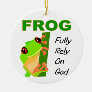 FROG, Fully rely on God Double-Sided Ceramic Round Christmas Ornament