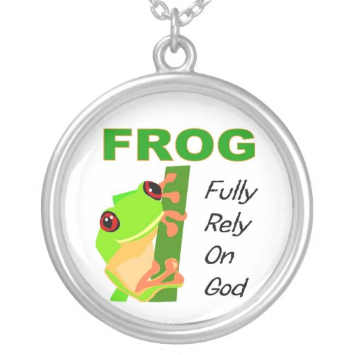 FROG, Fully rely on God Round Pendant Necklace