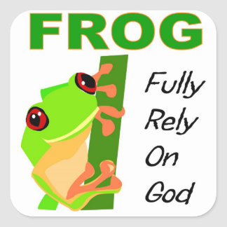 FROG, Fully rely on God Square Sticker