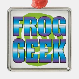 Frog Geek v3 Square Metal Christmas Ornament