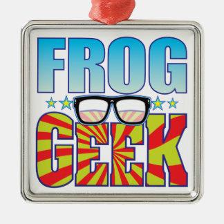 Frog Geek v4 Square Metal Christmas Ornament