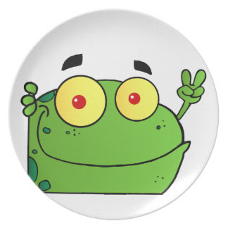 Frog Gesturing The Peace Sign Dinner Plate