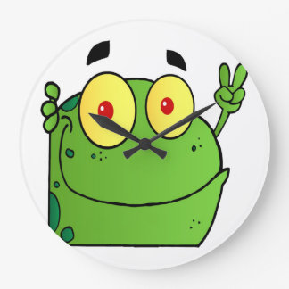 Frog Gesturing The Peace Sign Large Clock