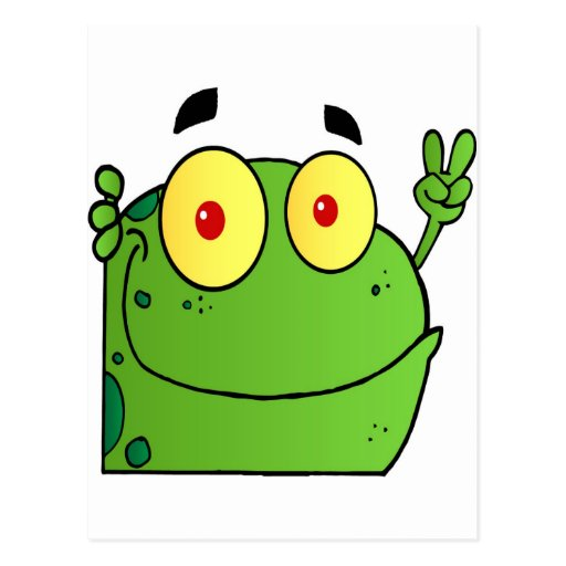 Frog Gesturing The Peace Sign Post Card