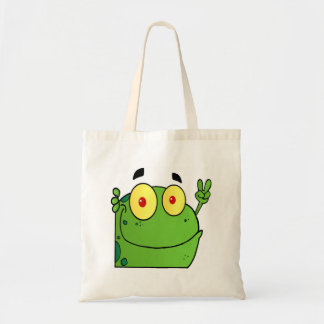 Frog Gesturing The Peace Sign Tote Bag