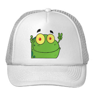 Frog Gesturing The Peace Sign Trucker Hat