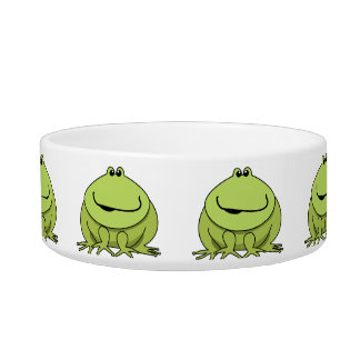 Frog Gifts Cute Green Happy Frogs Pet Bowl Cat Food Bowl