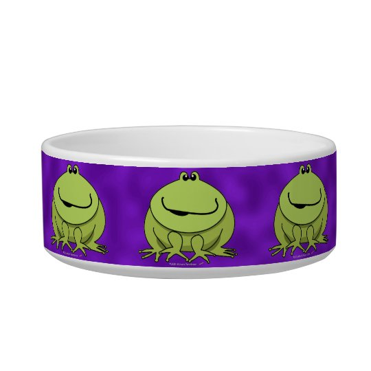 Frog Gifts Cute Green Happy Frogs Purple Pet Bowl