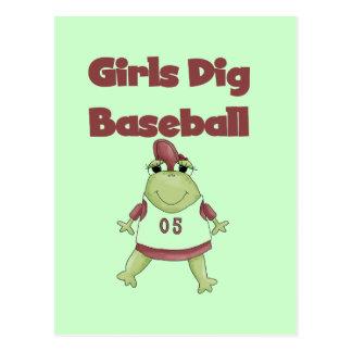Frog Girls Dig Baseball Tshirts and Gifts Postcard
