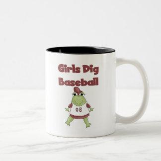 Frog Girls Dig Baseball Tshirts and Gifts Two-Tone Coffee Mug