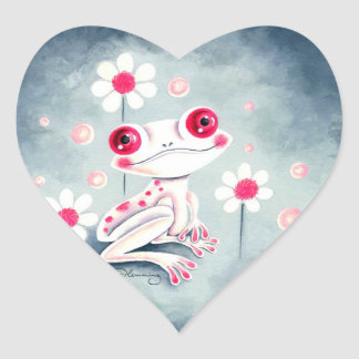 Frog Girly Pink Cute Heart Sticker