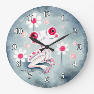 Frog Girly Pink Cute Large Clock