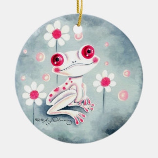 Frog Girly Pink Cute Double-Sided Ceramic Round Christmas Ornament