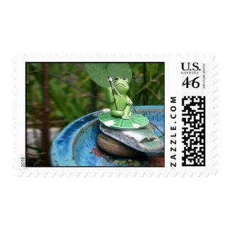 Frog Gone Fishing Postage Stamp