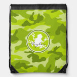 Frog;  green camo, camouflage drawstring backpacks