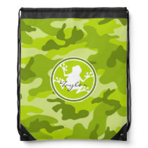Frog;  green camo, camouflage drawstring bag