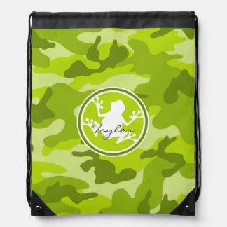 Frog;  green camo, camouflage drawstring bag