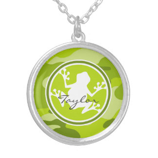 Frog;  green camo, camouflage personalized necklace