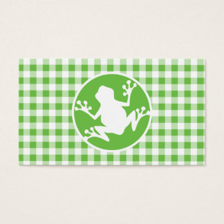 Frog; Green Gingham Business Card