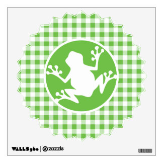 Frog; Green Gingham Wall Sticker