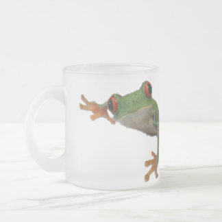 Frog Green Red Frosted Glass Coffee Mug