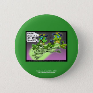 Frog Homicide Police Cartoon Novelty Button