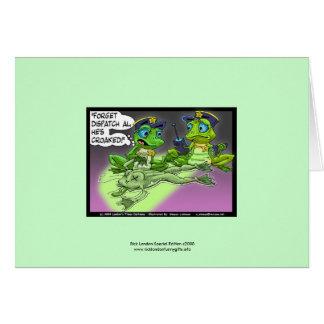 Frog Homicide Police Cartoon On Greeting Card
