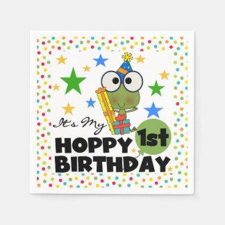 Frog Hoppy 1st Birthday Paper Napkins