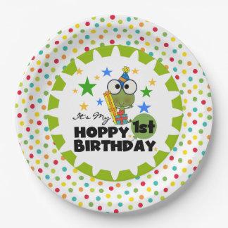 Frog Hoppy 1st Birthday Paper Plates