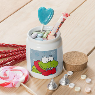 Frog hot chocolate with marshmellows candy jars
