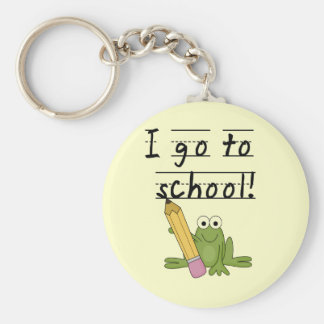 Frog I Go To School Tshirts and Gifts Basic Round Button Keychain