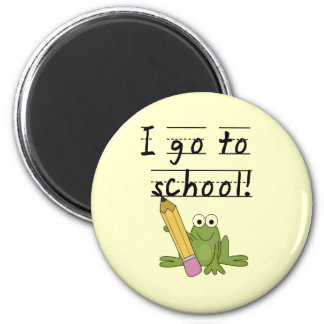 Frog I Go To School Tshirts and Gifts 2 Inch Round Magnet