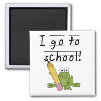 Frog I Go To School Tshirts and Gifts 2 Inch Square Magnet