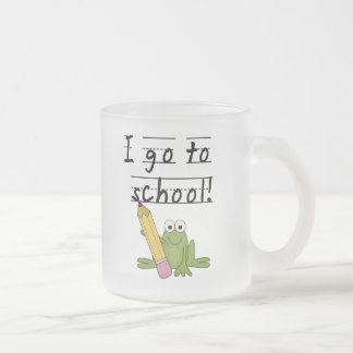 Frog I Go To School Tshirts and Gifts 10 Oz Frosted Glass Coffee Mug
