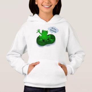 Frog illustration cartoon on a leaf hoodie