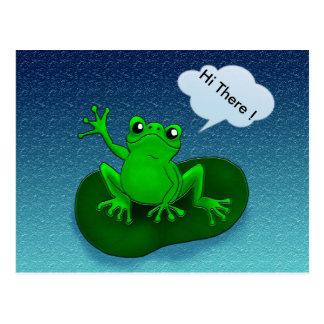 Frog illustration cartoon on a leaf postcard