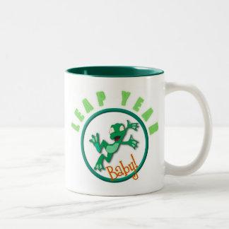 frog in a circle Two-Tone coffee mug