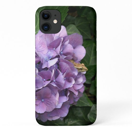 Frog in a Hydrangea, iPhone Case. iPhone 11 Case