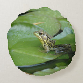 Frog in a Pond Round Pillow