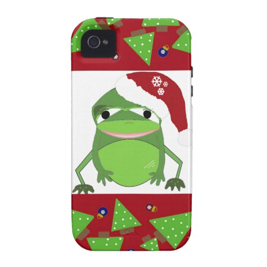 Frog in a Santa Hat with Festive Border iPhone 4 Cover